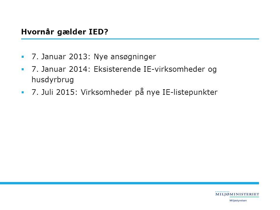 Hvornår gælder IED 7. Januar 2013: Nye ansøgninger. 7. Januar 2014: Eksisterende IE-virksomheder og husdyrbrug.