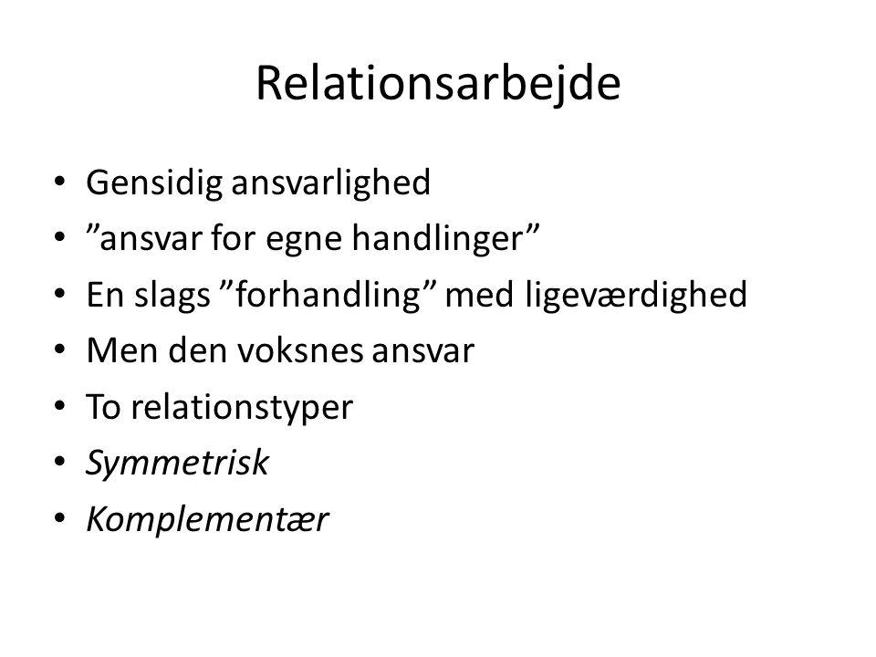 Relationsarbejde Gensidig ansvarlighed ansvar for egne handlinger