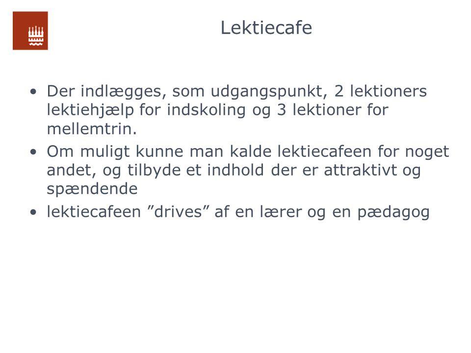 Lektiecafe Der indlægges, som udgangspunkt, 2 lektioners lektiehjælp for indskoling og 3 lektioner for mellemtrin.