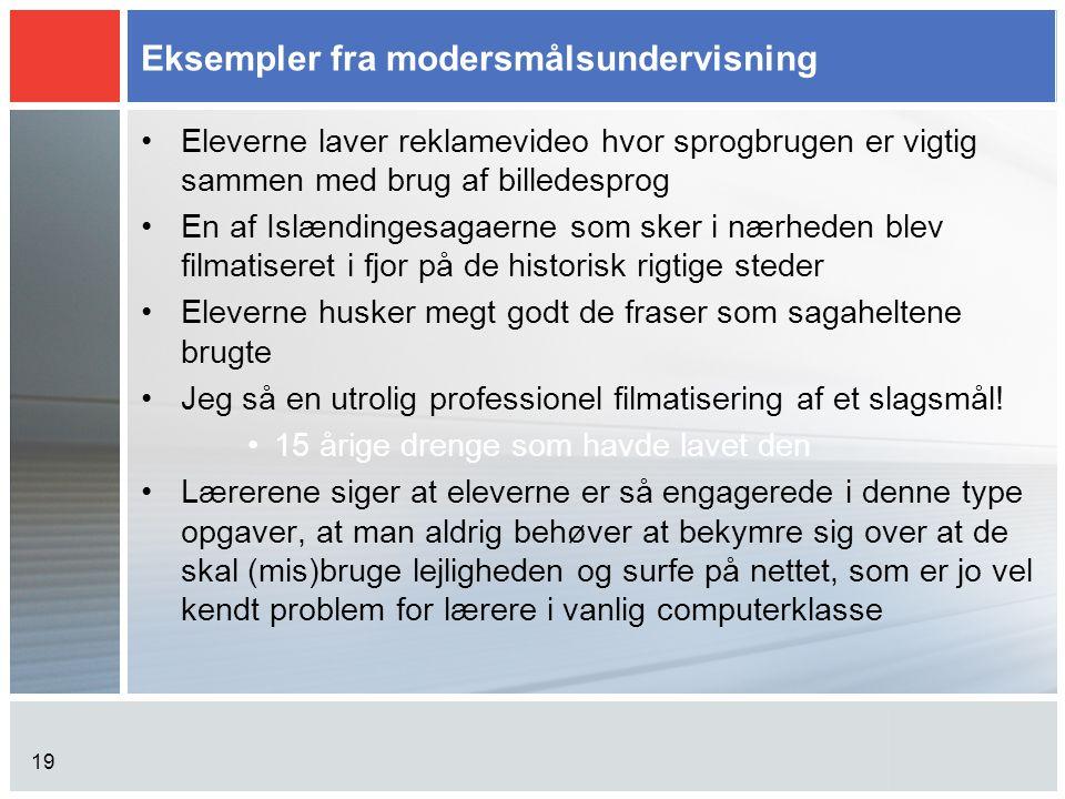 Eksempler fra modersmålsundervisning