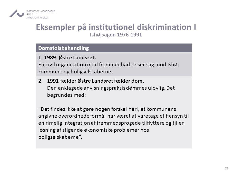 Eksempler på institutionel diskrimination I Ishøjsagen 1976-1991