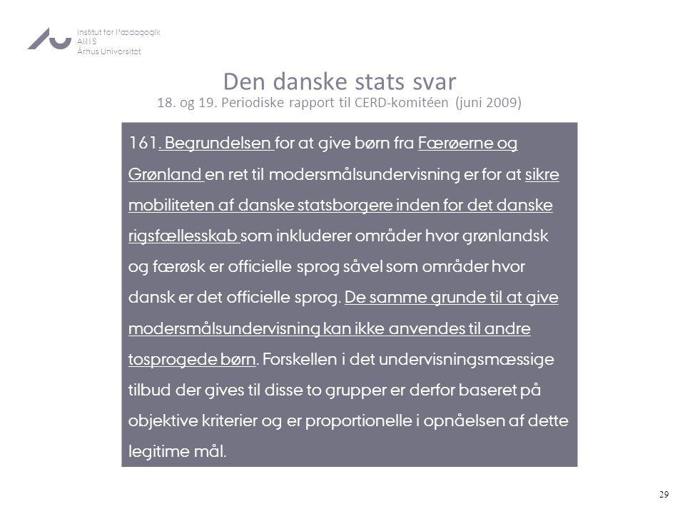 Den danske stats svar 18. og 19
