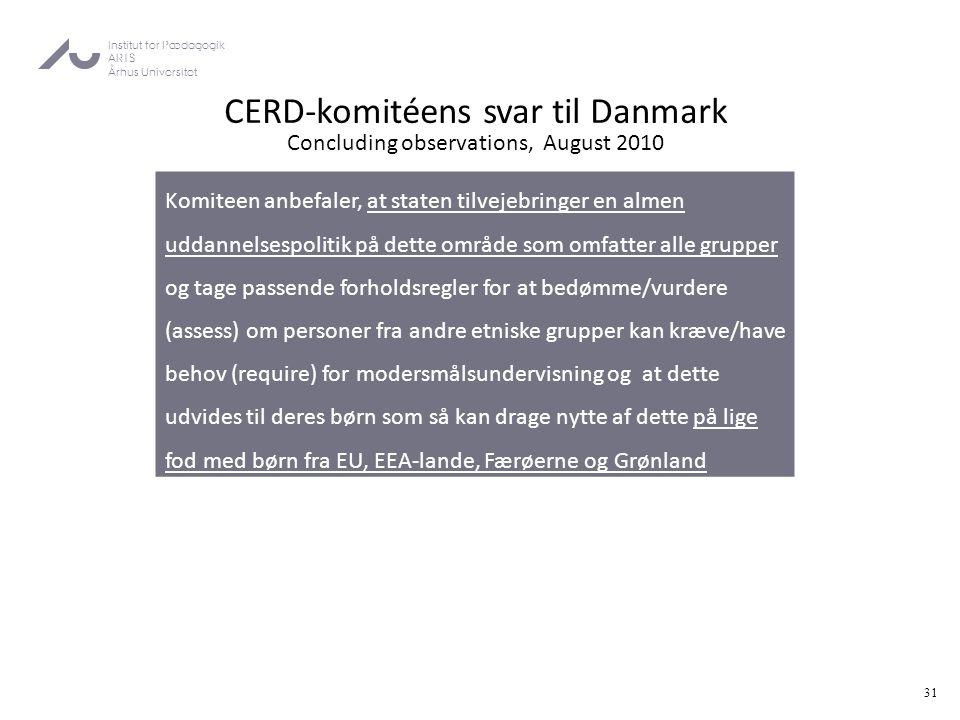 CERD-komitéens svar til Danmark Concluding observations, August 2010