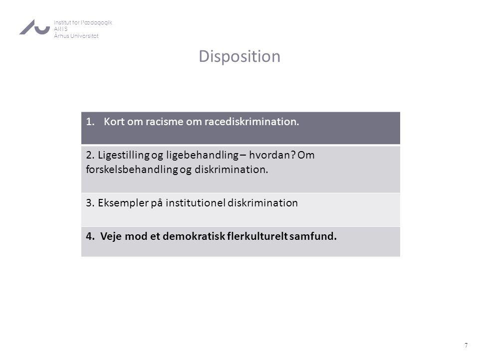 Disposition Kort om racisme om racediskrimination.
