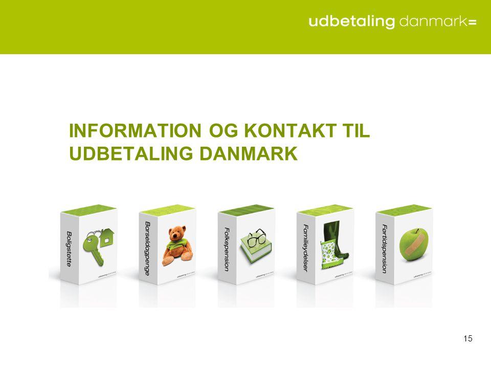 INFORMATION OG KONTAKT TIL UDBETALING DANMARK