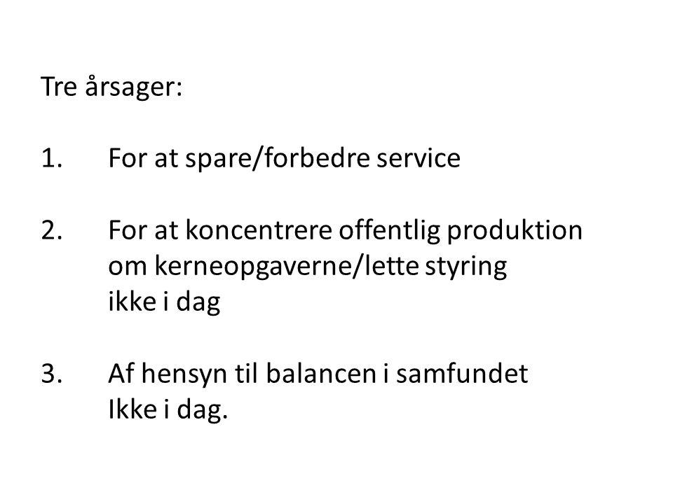 Tre årsager: 1. For at spare/forbedre service 2