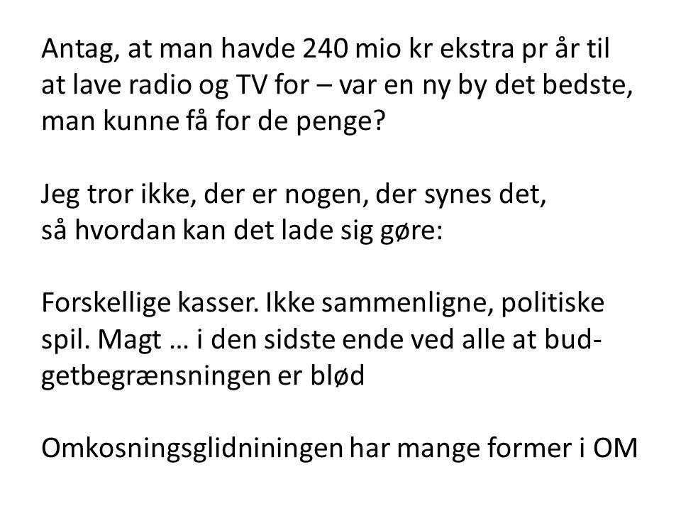 Antag, at man havde 240 mio kr ekstra pr år til at lave radio og TV for – var en ny by det bedste, man kunne få for de penge.