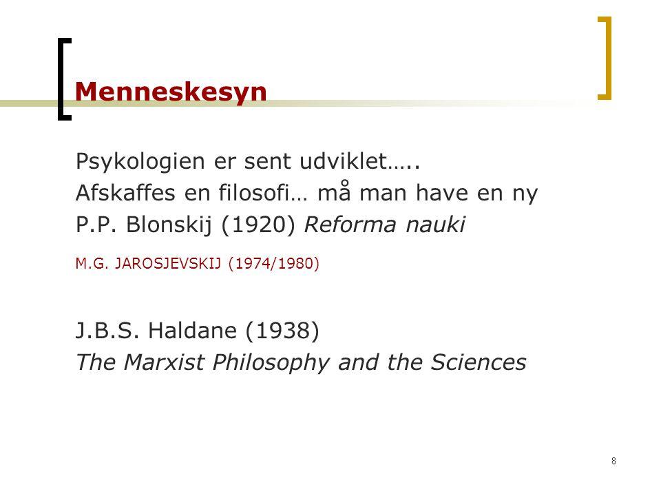 Menneskesyn Psykologien er sent udviklet…..