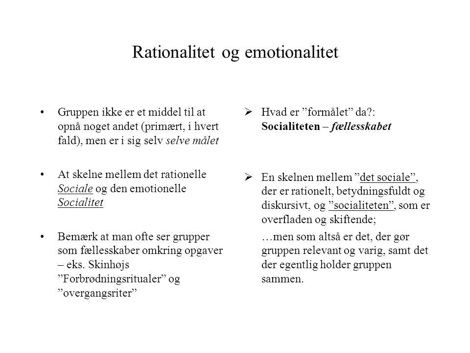 Rationalitet og emotionalitet