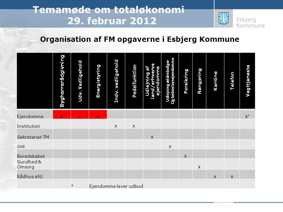 Organisation af FM opgaverne i Esbjerg Kommune