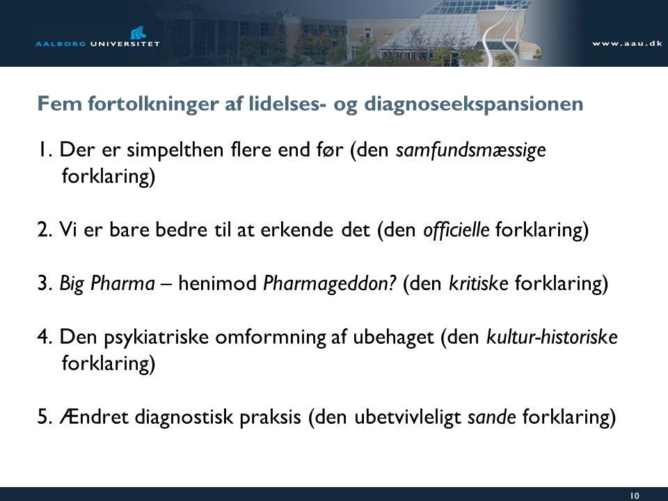 Fem fortolkninger af lidelses- og diagnoseekspansionen