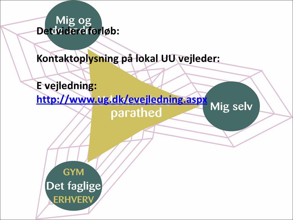 Det videre forløb: Kontaktoplysning på lokal UU vejleder: E vejledning: http://www.ug.dk/evejledning.aspx.