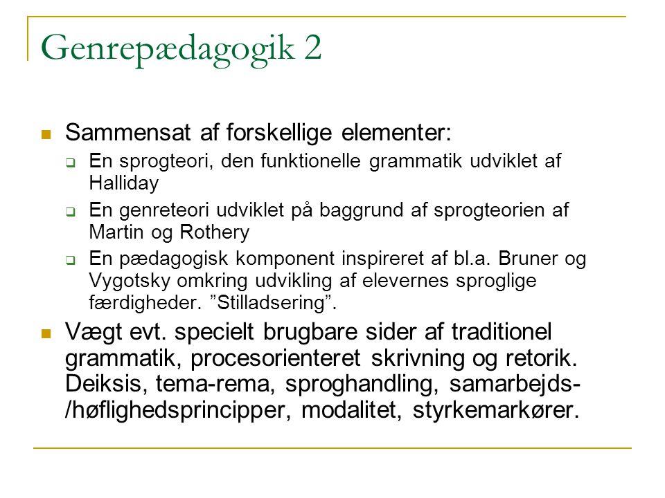 Genrepædagogik 2 Sammensat af forskellige elementer: