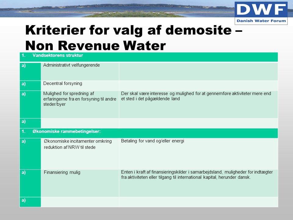 Kriterier for valg af demosite – Non Revenue Water