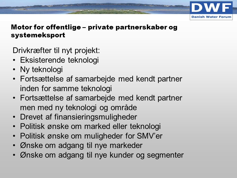 Motor for offentlige – private partnerskaber og systemeksport