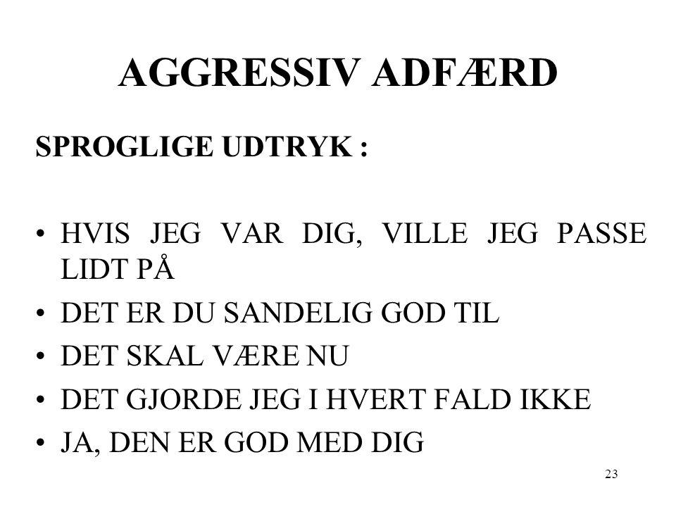 AGGRESSIV ADFÆRD SPROGLIGE UDTRYK :