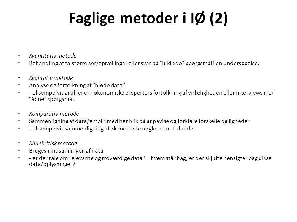 Faglige metoder i IØ (2) Kvantitativ metode