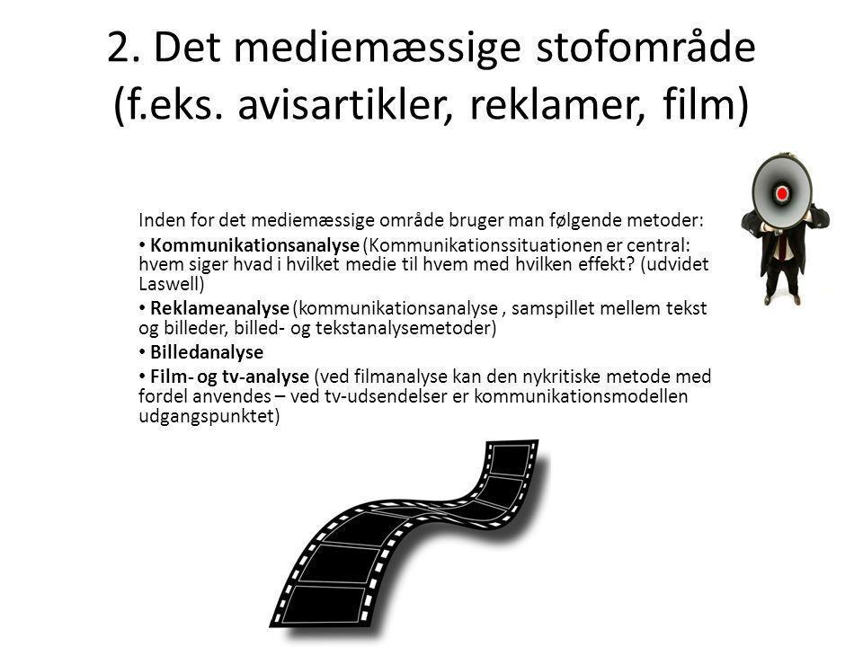 2. Det mediemæssige stofområde (f.eks. avisartikler, reklamer, film)