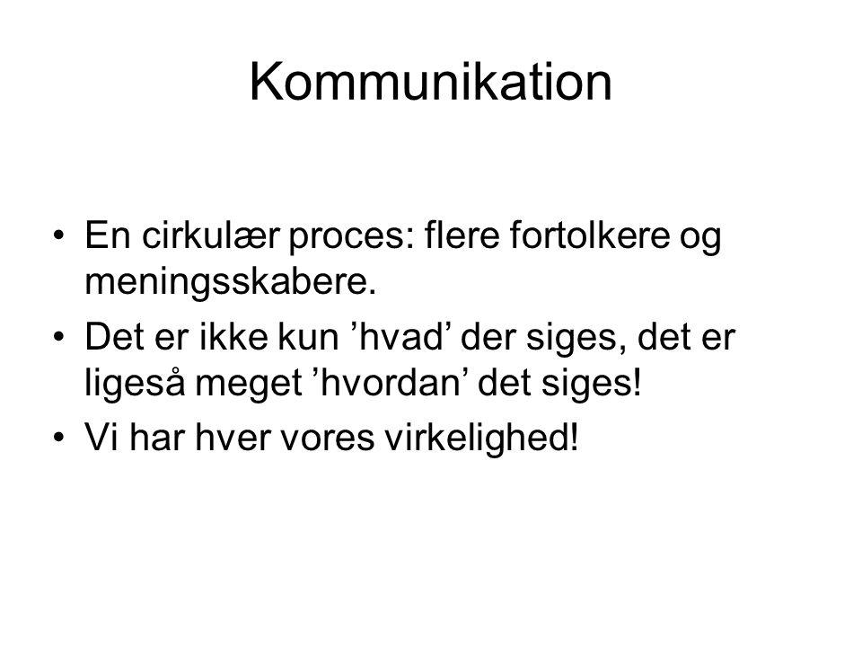 Kommunikation En cirkulær proces: flere fortolkere og meningsskabere.