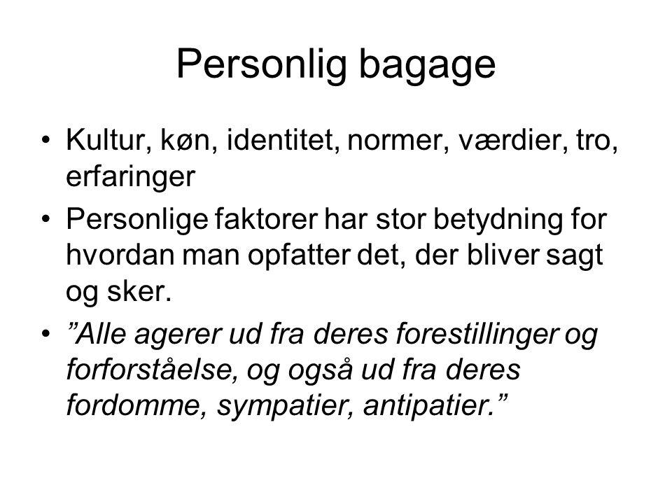 Personlig bagage Kultur, køn, identitet, normer, værdier, tro, erfaringer.