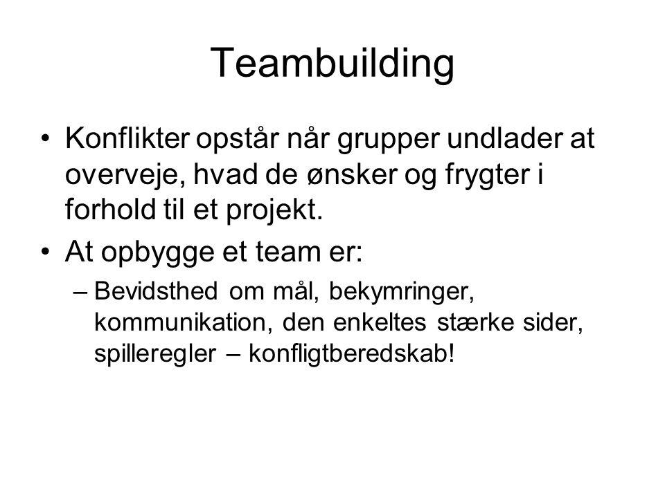 Teambuilding Konflikter opstår når grupper undlader at overveje, hvad de ønsker og frygter i forhold til et projekt.