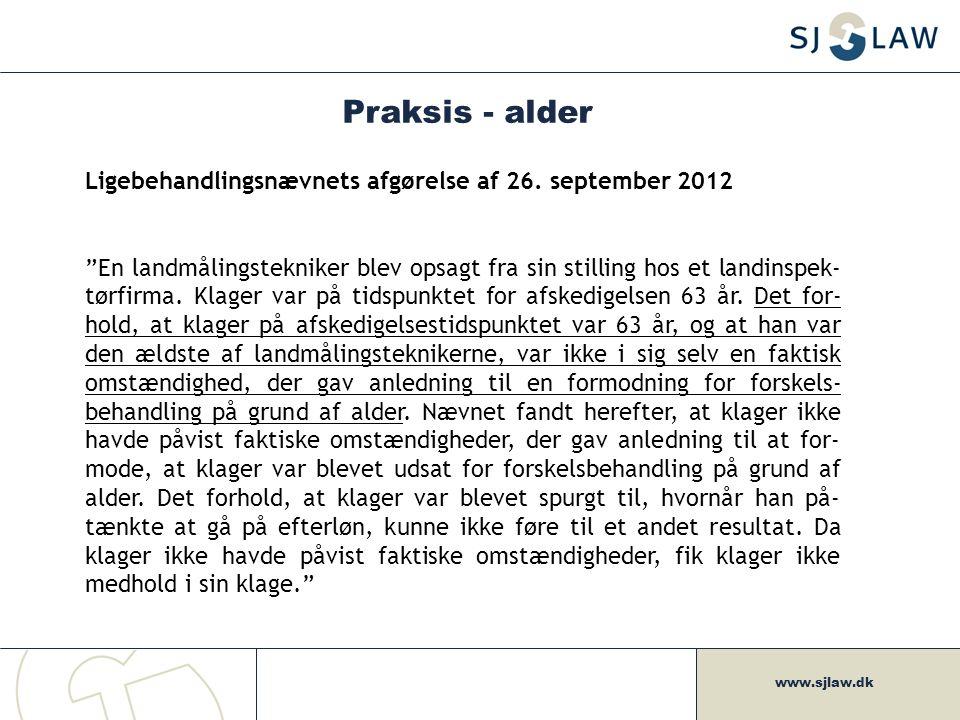 Praksis - alder Ligebehandlingsnævnets afgørelse af 26. september 2012