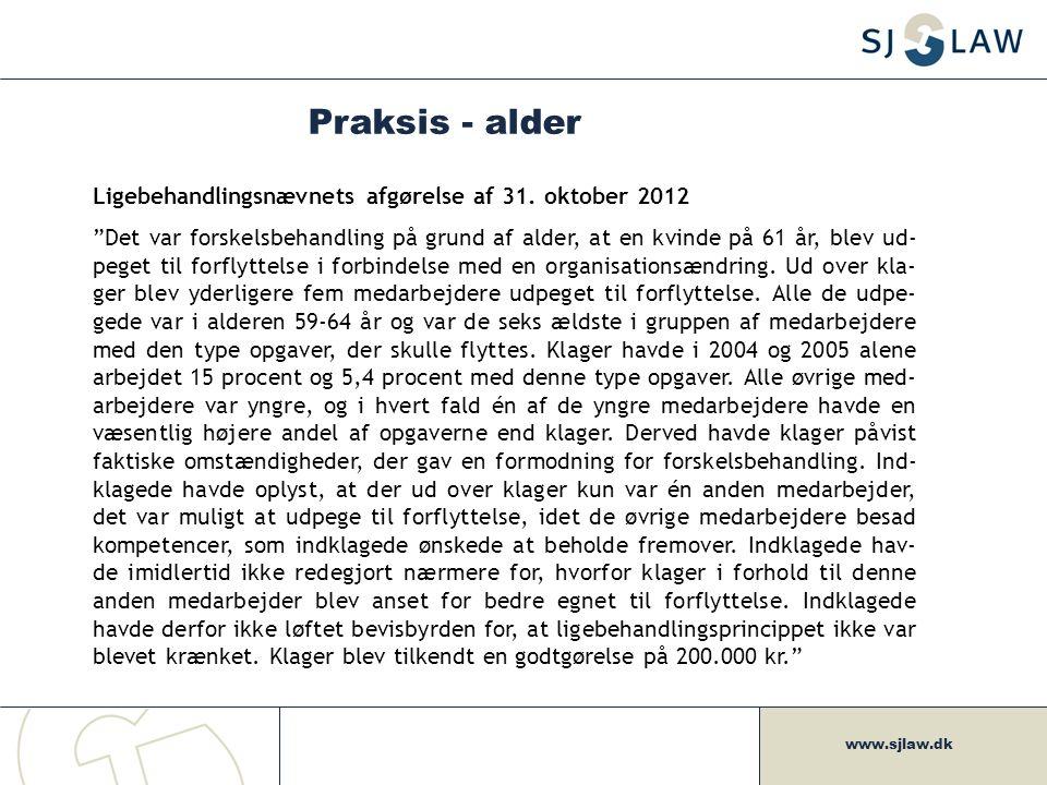 Praksis - alder Ligebehandlingsnævnets afgørelse af 31. oktober 2012
