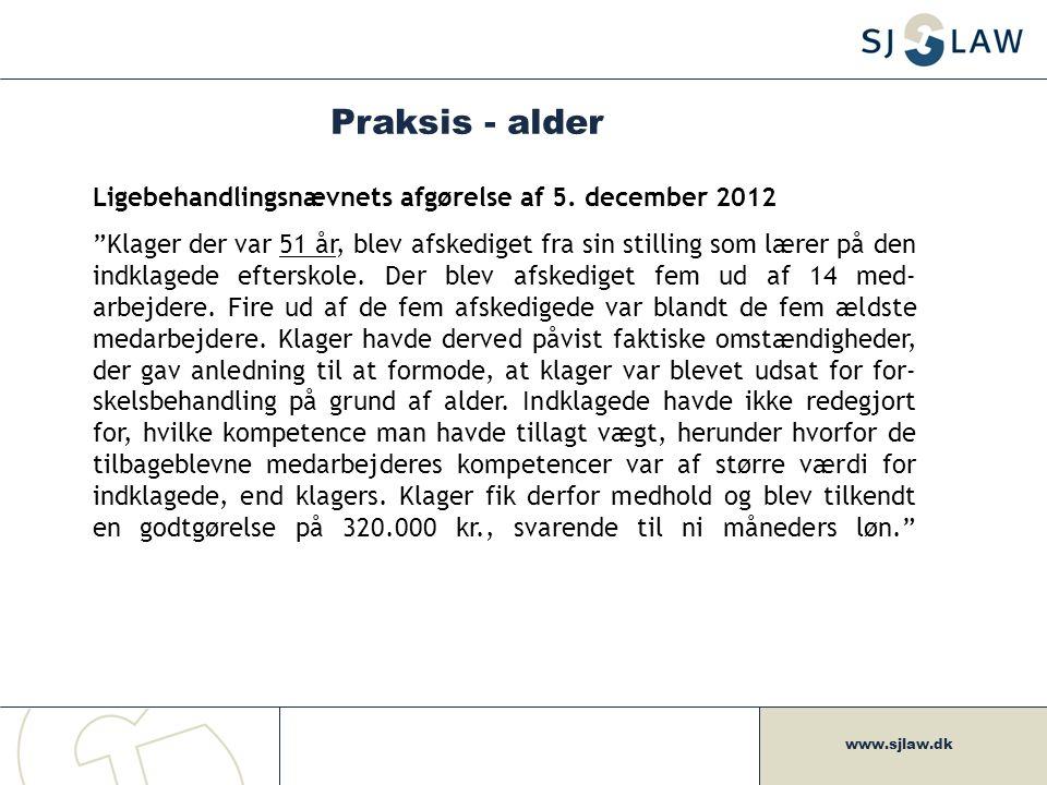 Praksis - alder Ligebehandlingsnævnets afgørelse af 5. december 2012