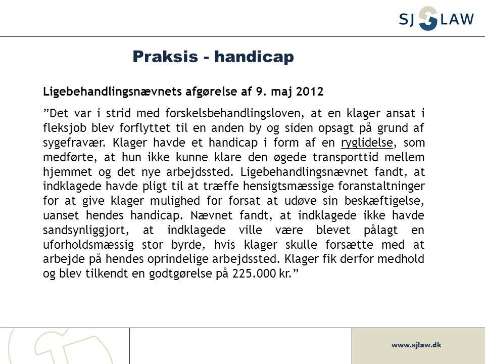 Praksis - handicap Ligebehandlingsnævnets afgørelse af 9. maj 2012