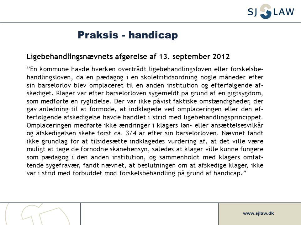 Praksis - handicap Ligebehandlingsnævnets afgørelse af 13. september 2012.