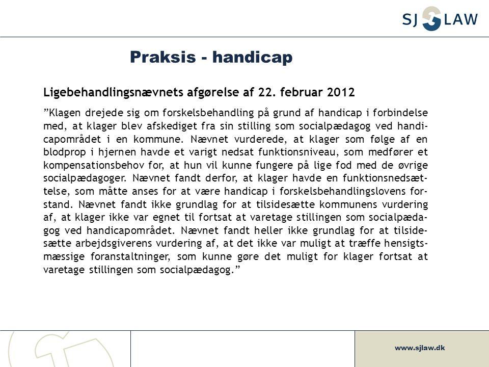 Praksis - handicap Ligebehandlingsnævnets afgørelse af 22. februar 2012.