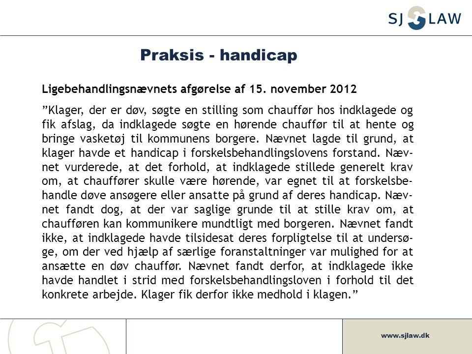 Praksis - handicap Ligebehandlingsnævnets afgørelse af 15. november 2012.