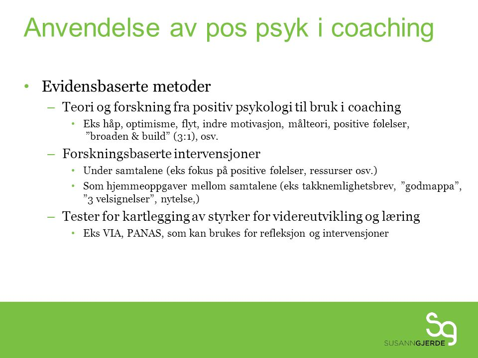 Anvendelse av pos psyk i coaching