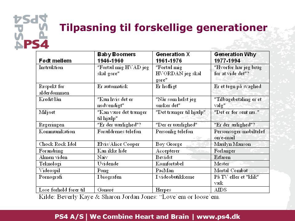 Tilpasning til forskellige generationer