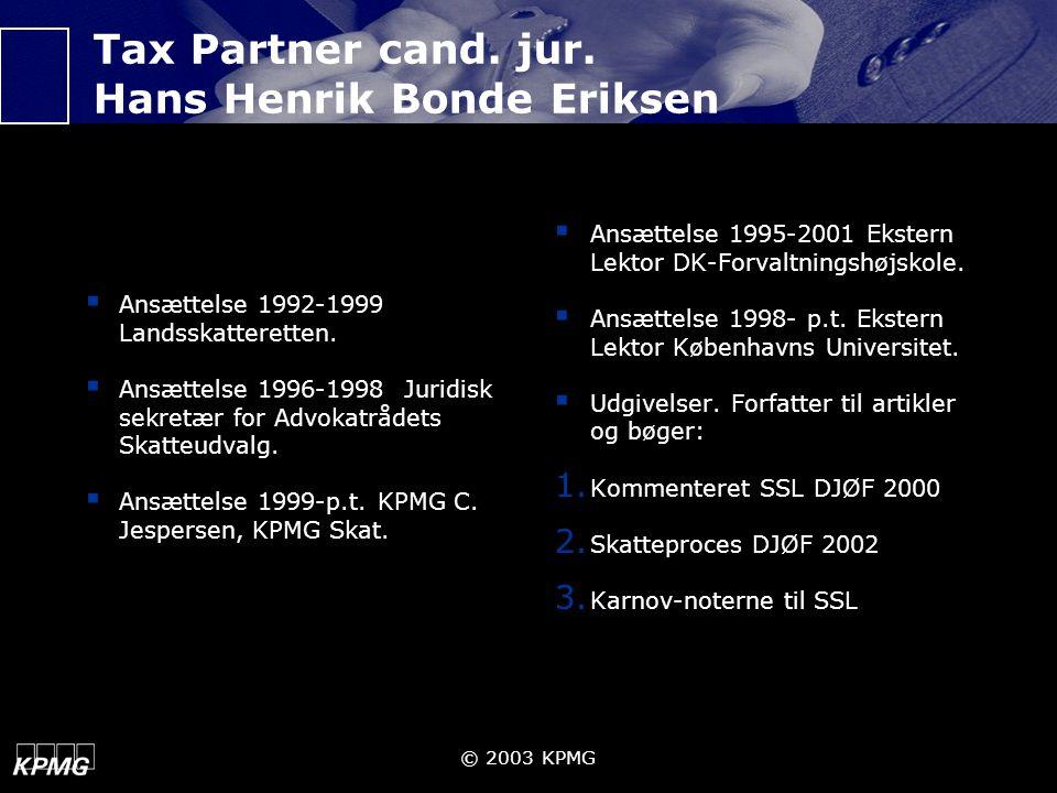 Tax Partner cand. jur. Hans Henrik Bonde Eriksen