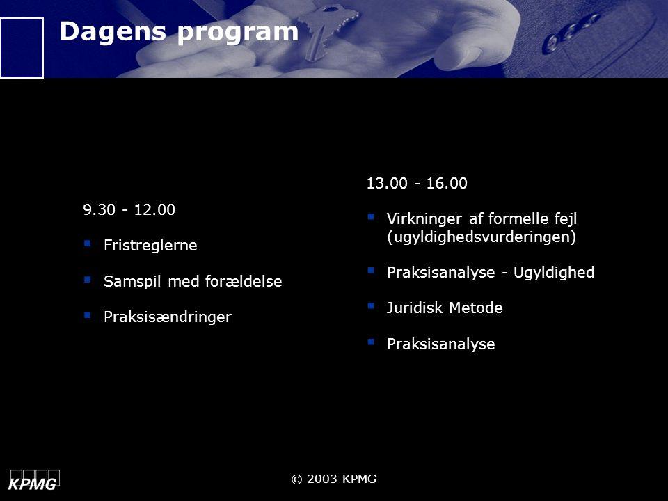 Dagens program 9.30 - 12.00 Fristreglerne Samspil med forældelse