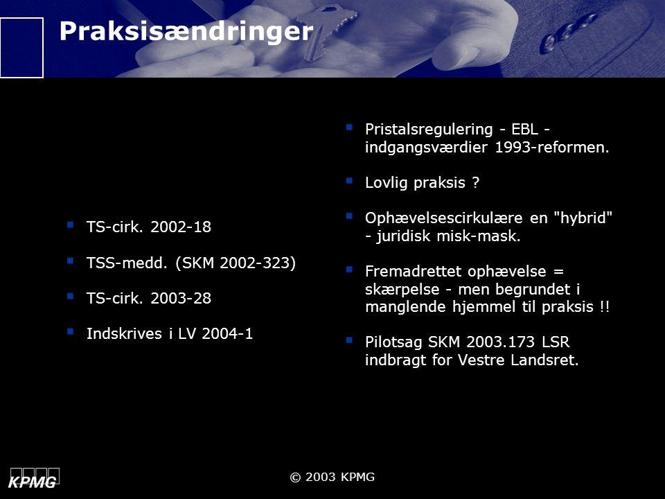 Praksisændringer TS-cirk. 2002-18. TSS-medd. (SKM 2002-323) TS-cirk. 2003-28. Indskrives i LV 2004-1.