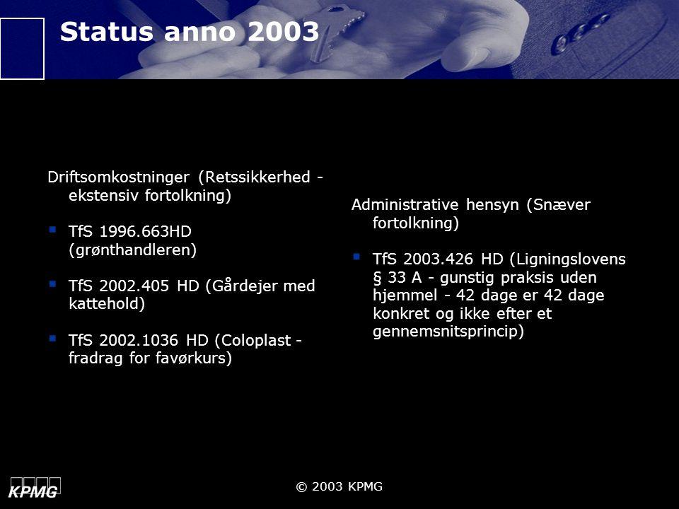 Status anno 2003 Driftsomkostninger (Retssikkerhed - ekstensiv fortolkning) TfS 1996.663HD (grønthandleren)