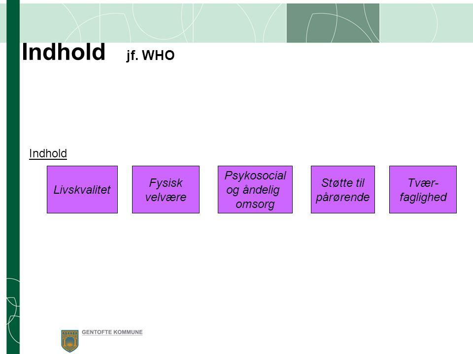 Indhold jf. WHO Indhold Livskvalitet Fysisk velvære Psykosocial