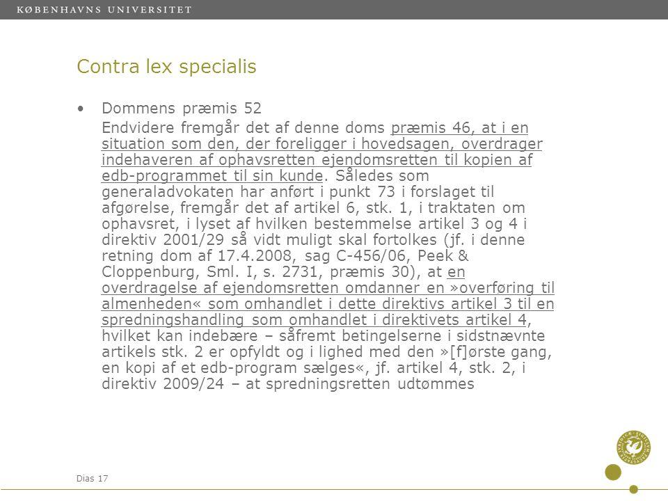 Contra lex specialis Dommens præmis 52