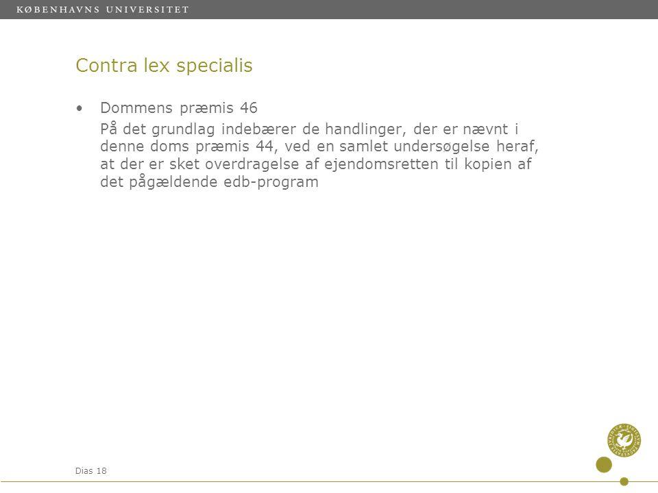 Contra lex specialis Dommens præmis 46