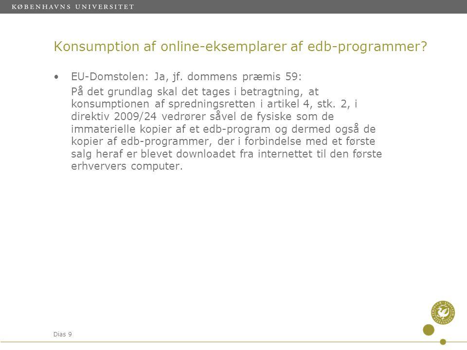 Konsumption af online-eksemplarer af edb-programmer