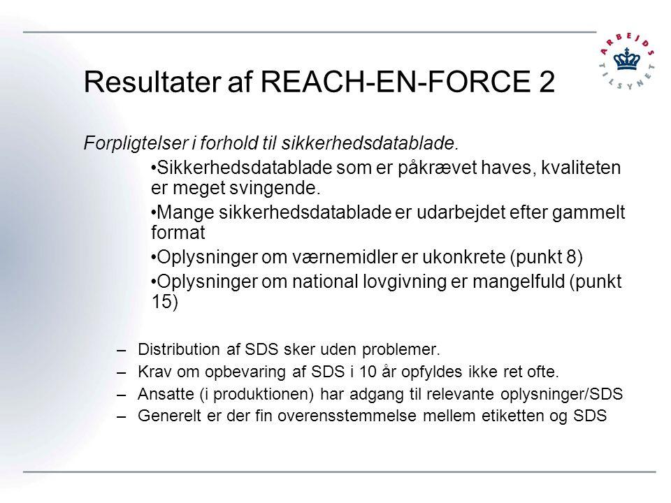 Resultater af REACH-EN-FORCE 2