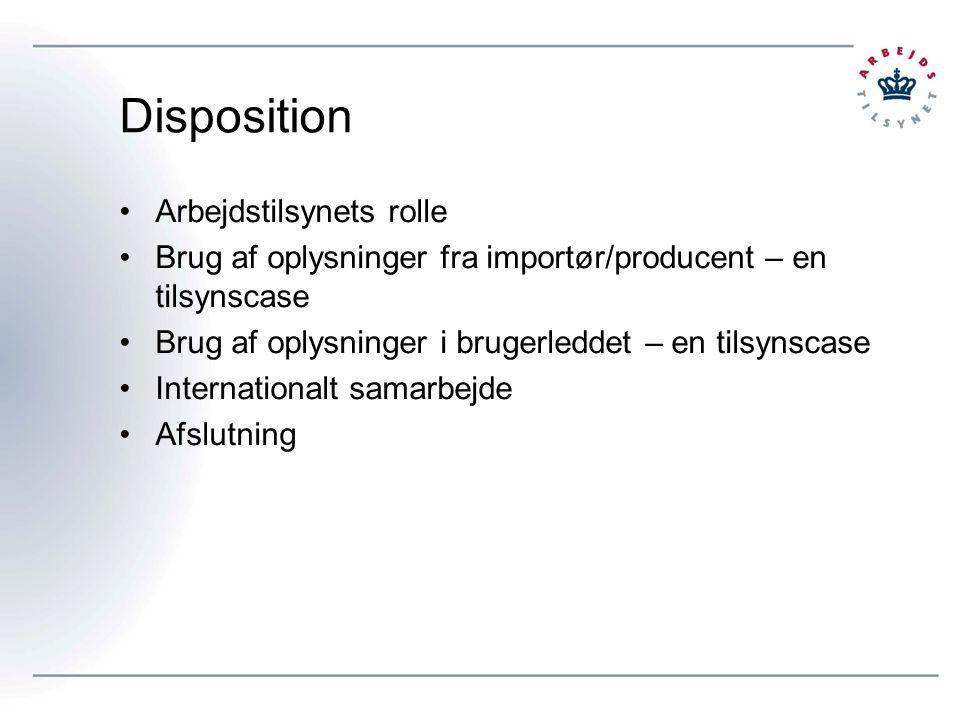 Disposition Arbejdstilsynets rolle