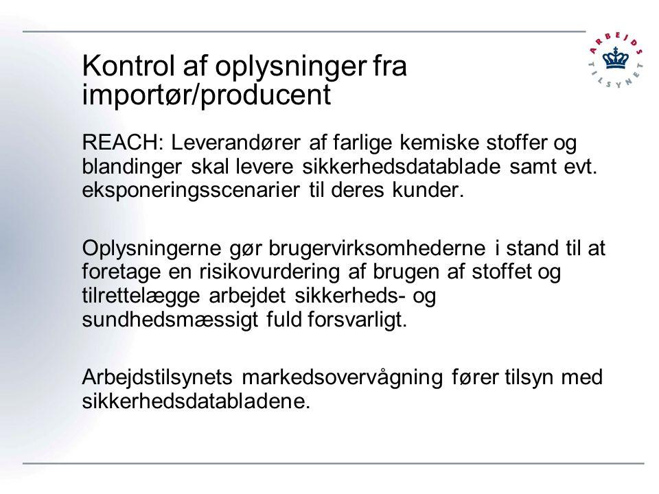 Kontrol af oplysninger fra importør/producent