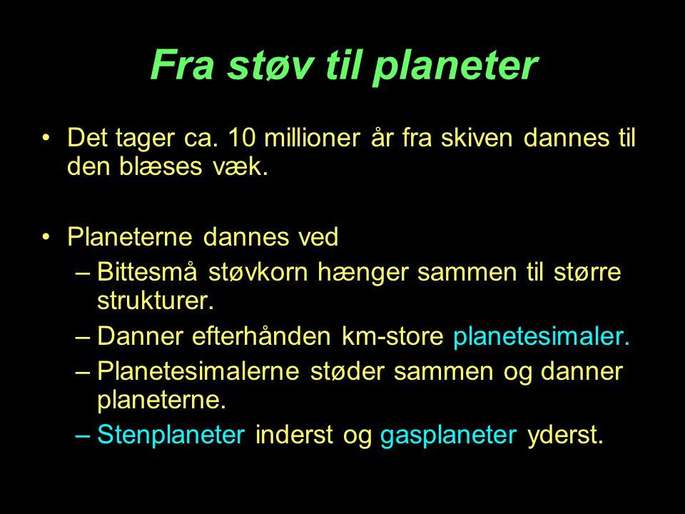 Fra støv til planeter Det tager ca. 10 millioner år fra skiven dannes til den blæses væk. Planeterne dannes ved.