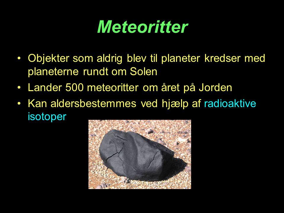 Meteoritter Objekter som aldrig blev til planeter kredser med planeterne rundt om Solen. Lander 500 meteoritter om året på Jorden.