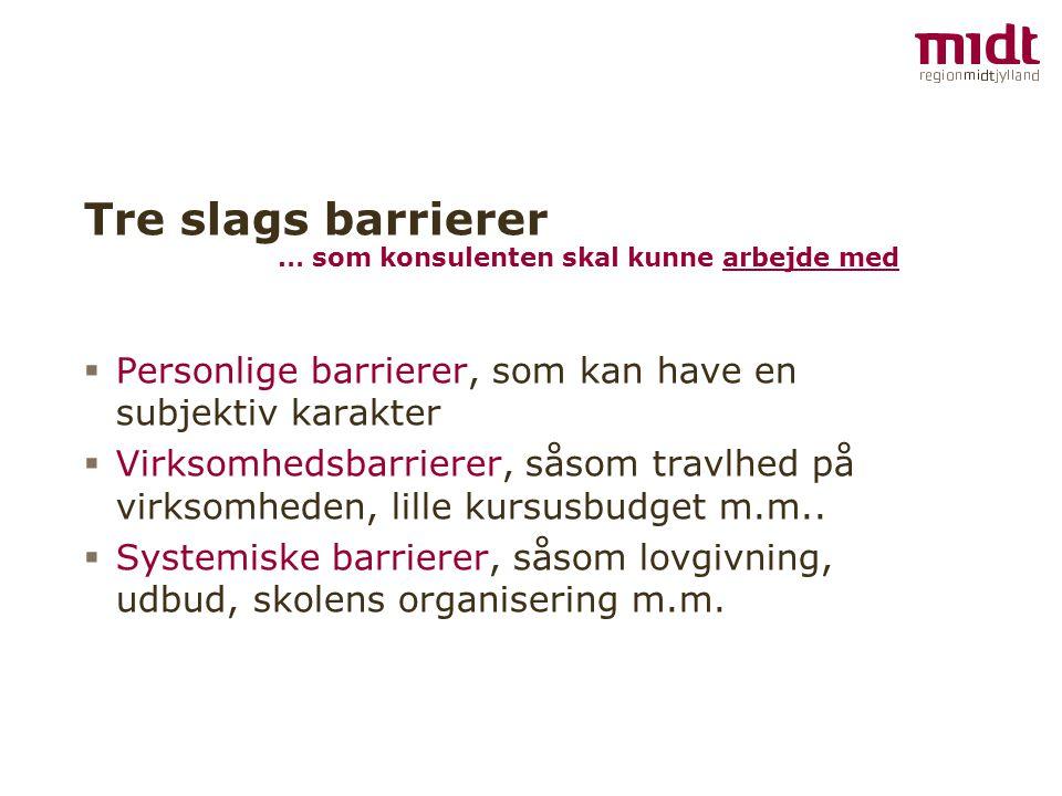 Tre slags barrierer … som konsulenten skal kunne arbejde med. Personlige barrierer, som kan have en subjektiv karakter.