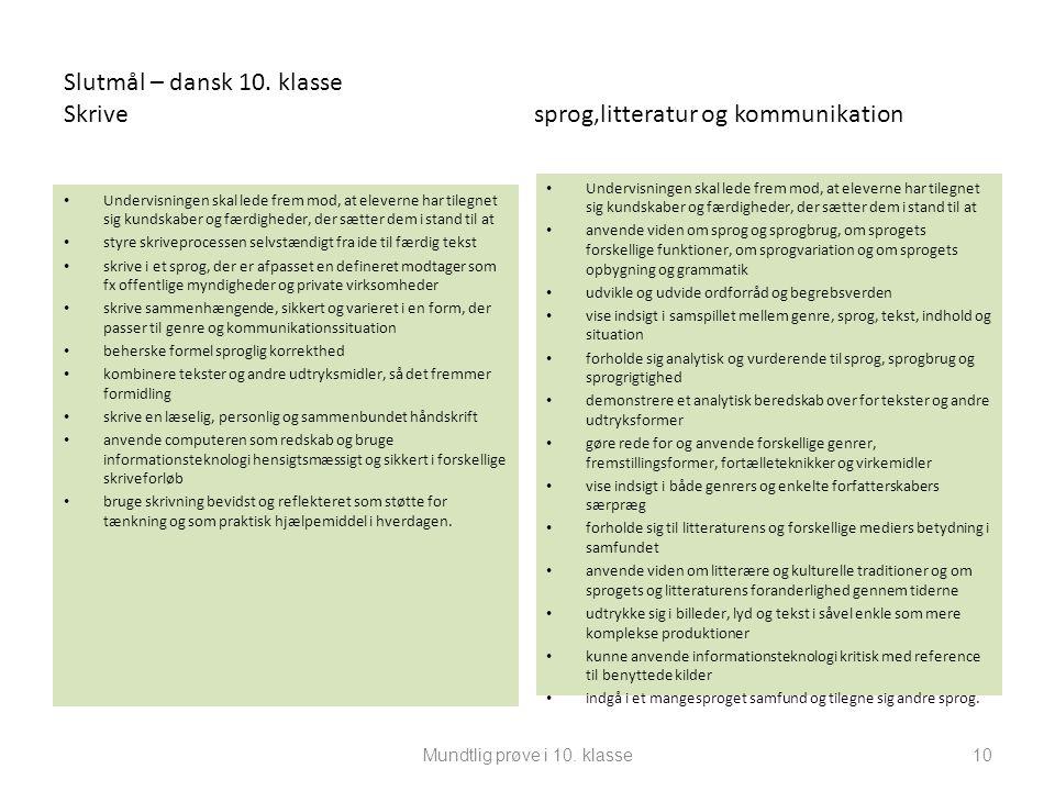 Slutmål – dansk 10. klasse Skrive sprog,litteratur og kommunikation