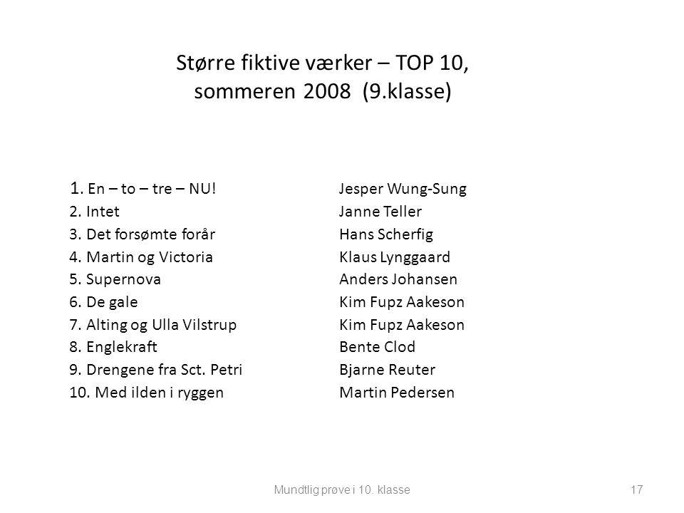 Større fiktive værker – TOP 10, sommeren 2008 (9.klasse)